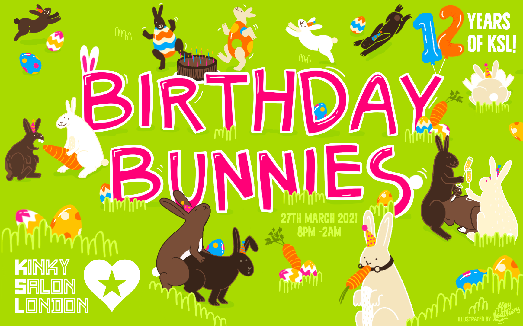 Birthday Bunnies! Cartoon images of naughty bunnies frolicking